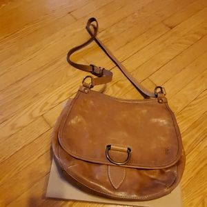 Frye Lucy Leather Crossbody Beige bag